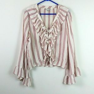 American Eagle Outfitters Boho Ruffle Lace up Top